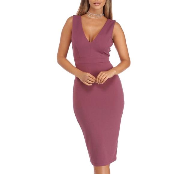 492bc458f6 Windsor Dresses | Mauve Sleeveless Midi Dress | Poshmark